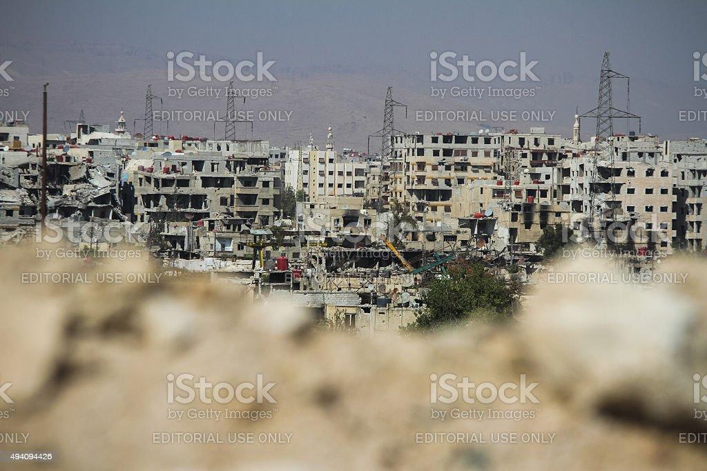 Ruined Damascus stock photo