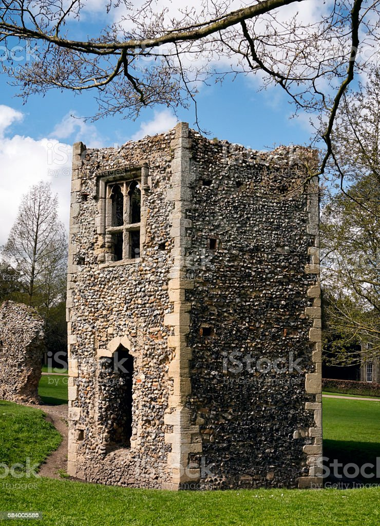Ruined dovecote, Bury St Edmunds Abbey Gardens stock photo