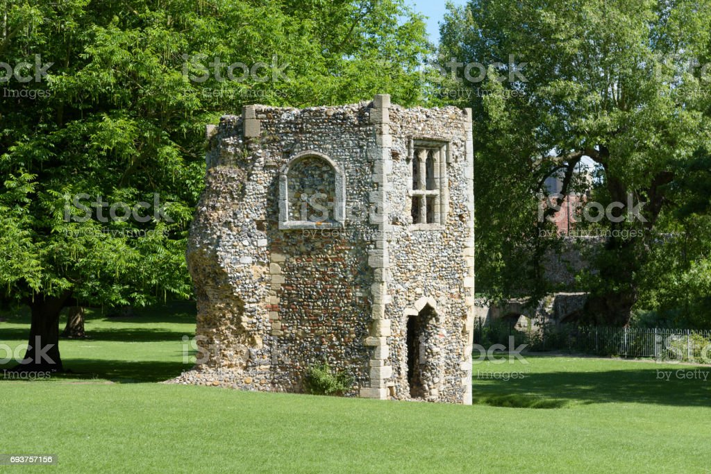 Ruined dovecote of medieval abbey stock photo
