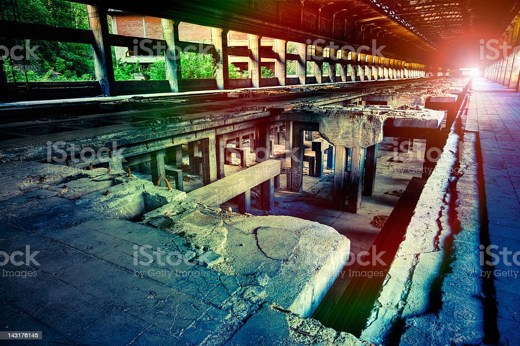 Ruined Factory Abandoned Industry Interior Perspective royalty-free stock photo