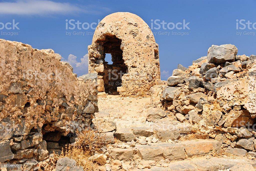 Ruined fire position, war, Gramvousa fortress, Crete, Greece stock photo
