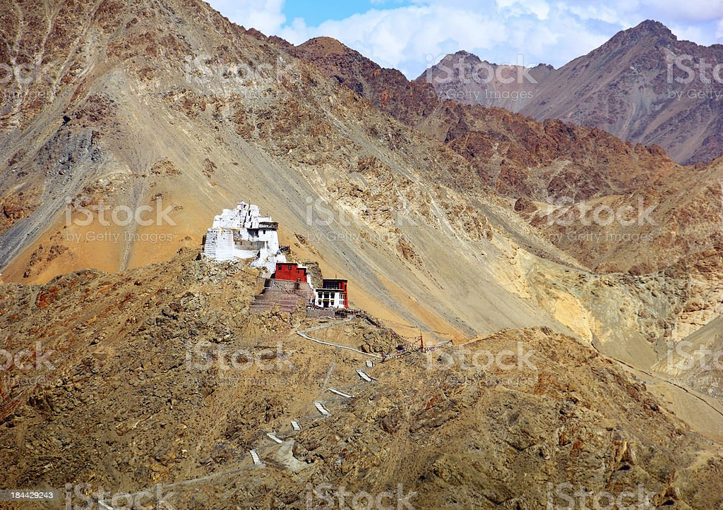 Ruined fort and Tsemo Gompa in Leh, Ladakh royalty-free stock photo