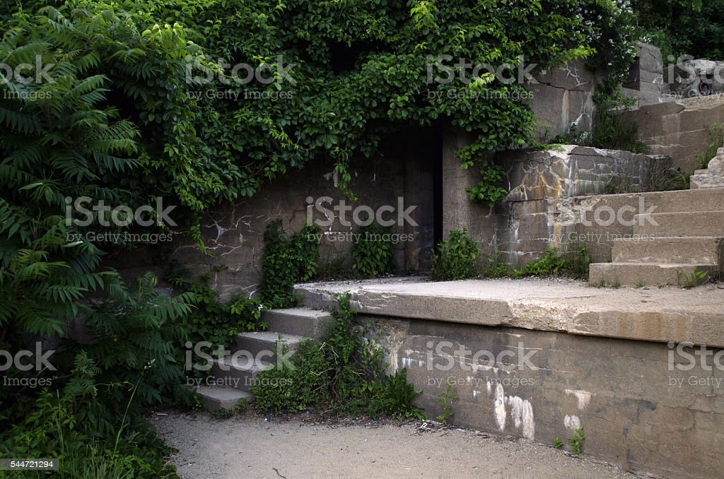 Ruined Fortification in Fort Williams Park, Portland, Maine stock photo
