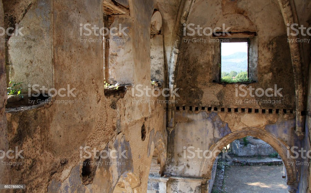 Ruined Greek Orthodox Church in the Ghost town of Kayakoy (Turkey) stock photo