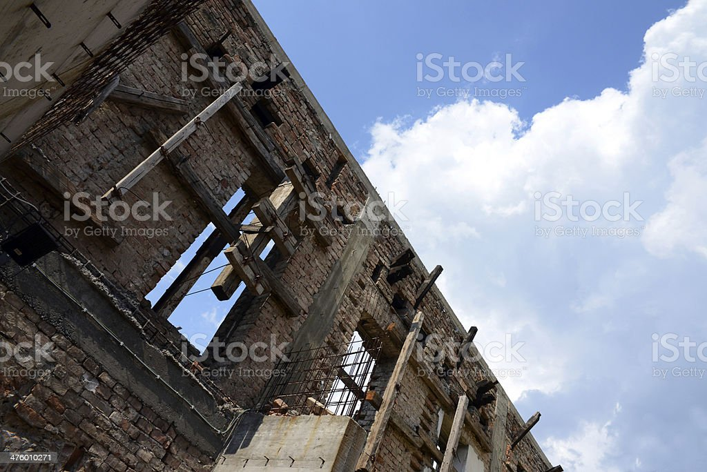 Ruined Historic Building Ready for Reconstruction royalty-free stock photo