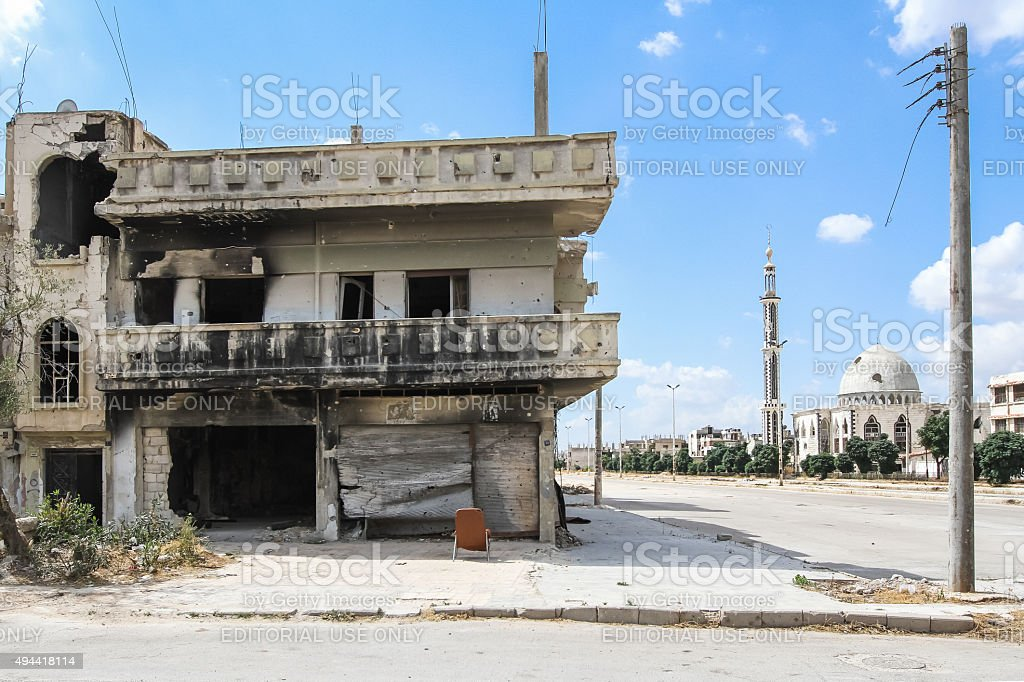 Ruined house after house fighting in Homs stock photo