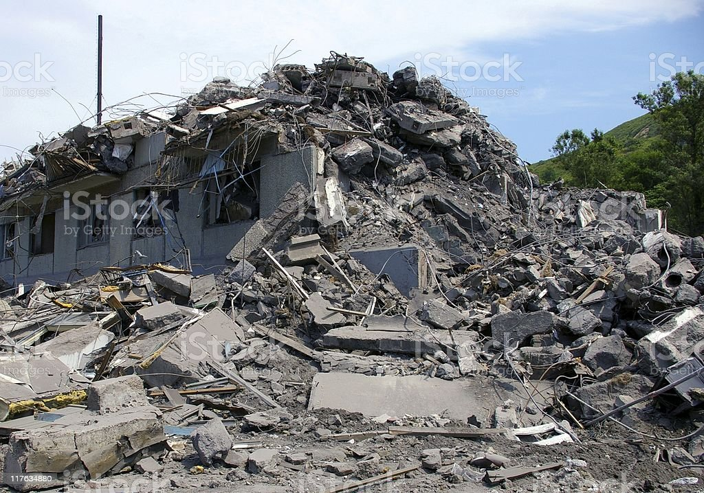 Ruined house due to natural disaster royalty-free stock photo