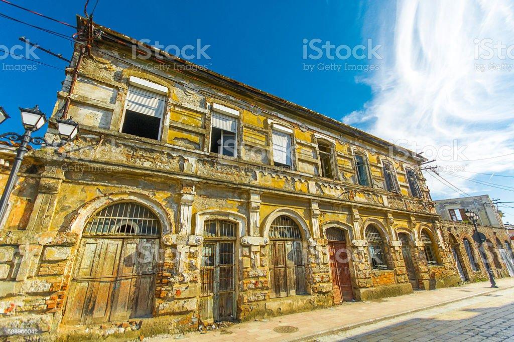 Ruined house in Shkoder Albania stock photo
