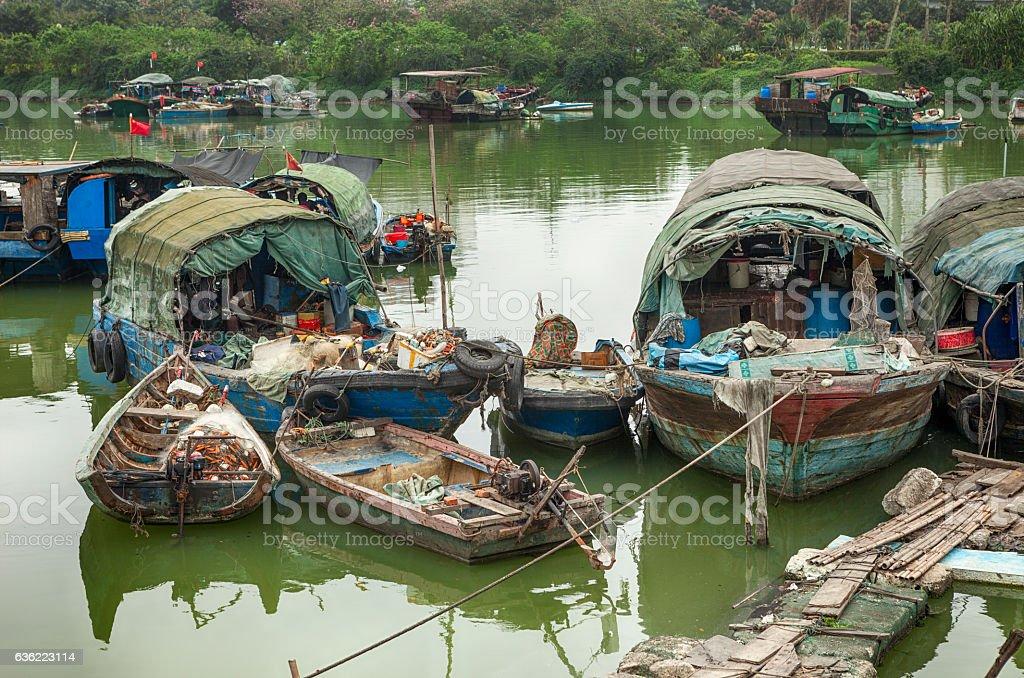 Ruined Houseboats in Haikou, China stock photo