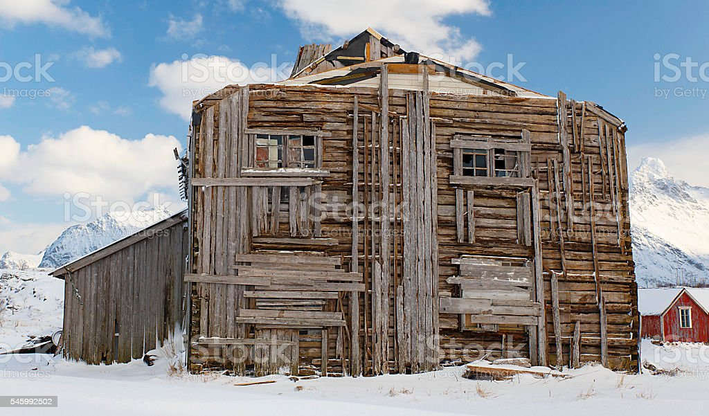 ruined house-lofoten stock photo