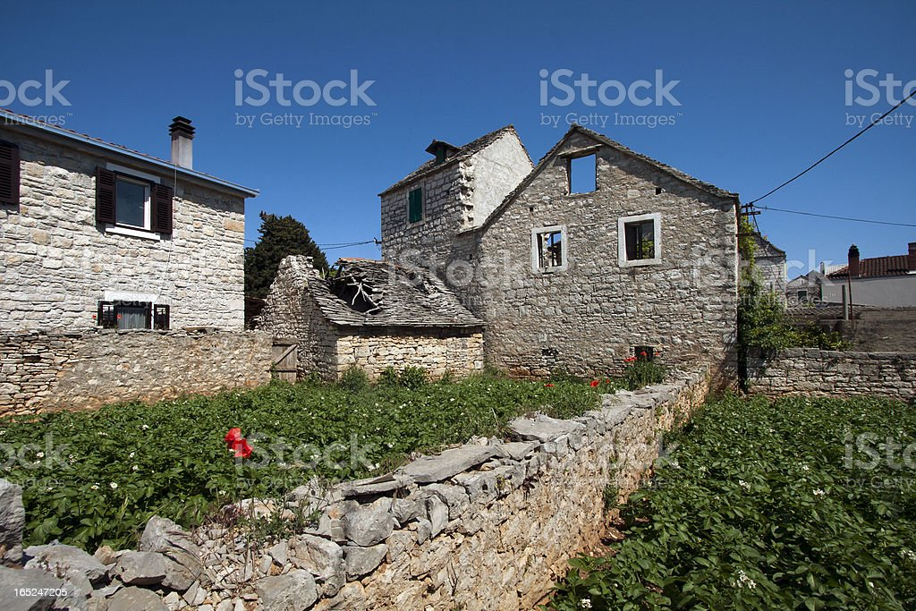 Ruined houses on Solta island royalty-free stock photo