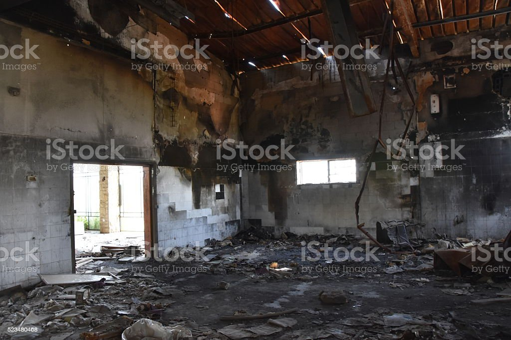Ruined of an abandoned factory stock photo