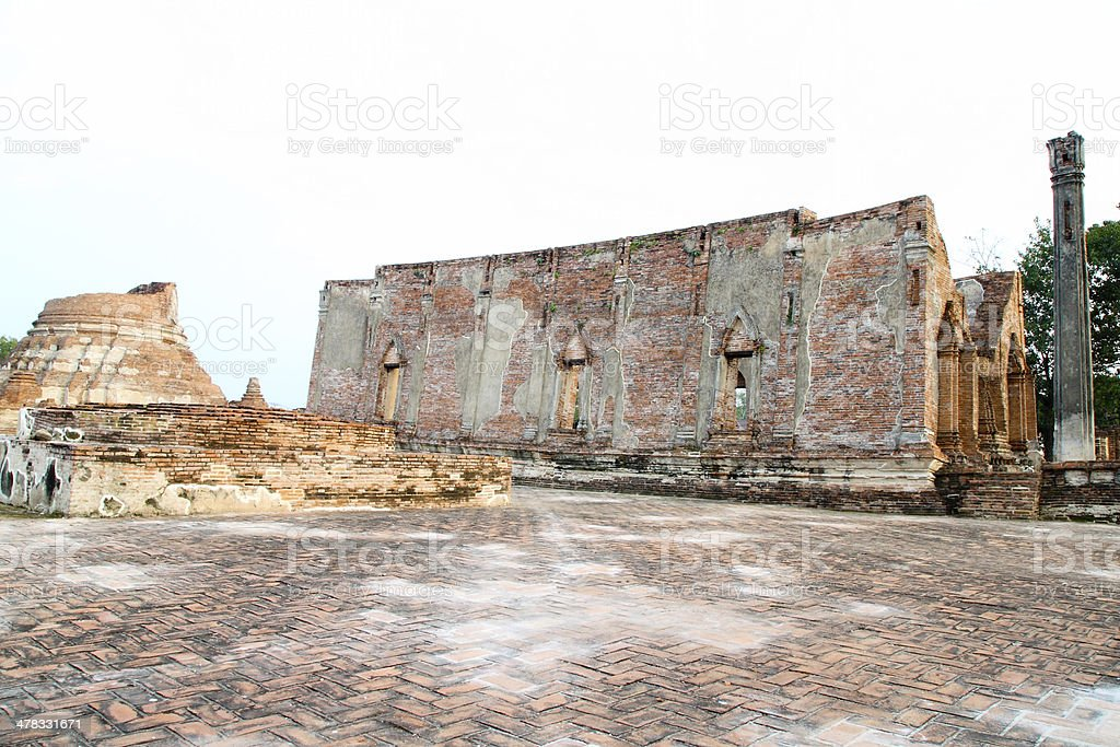 ruined old temple build from brick at  Thailand royalty-free stock photo