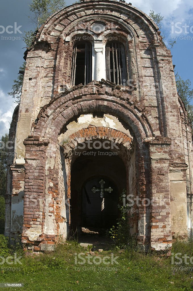 Ruined old temple stock photo