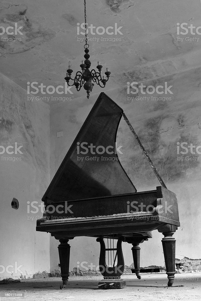 Ruined piano royalty-free stock photo