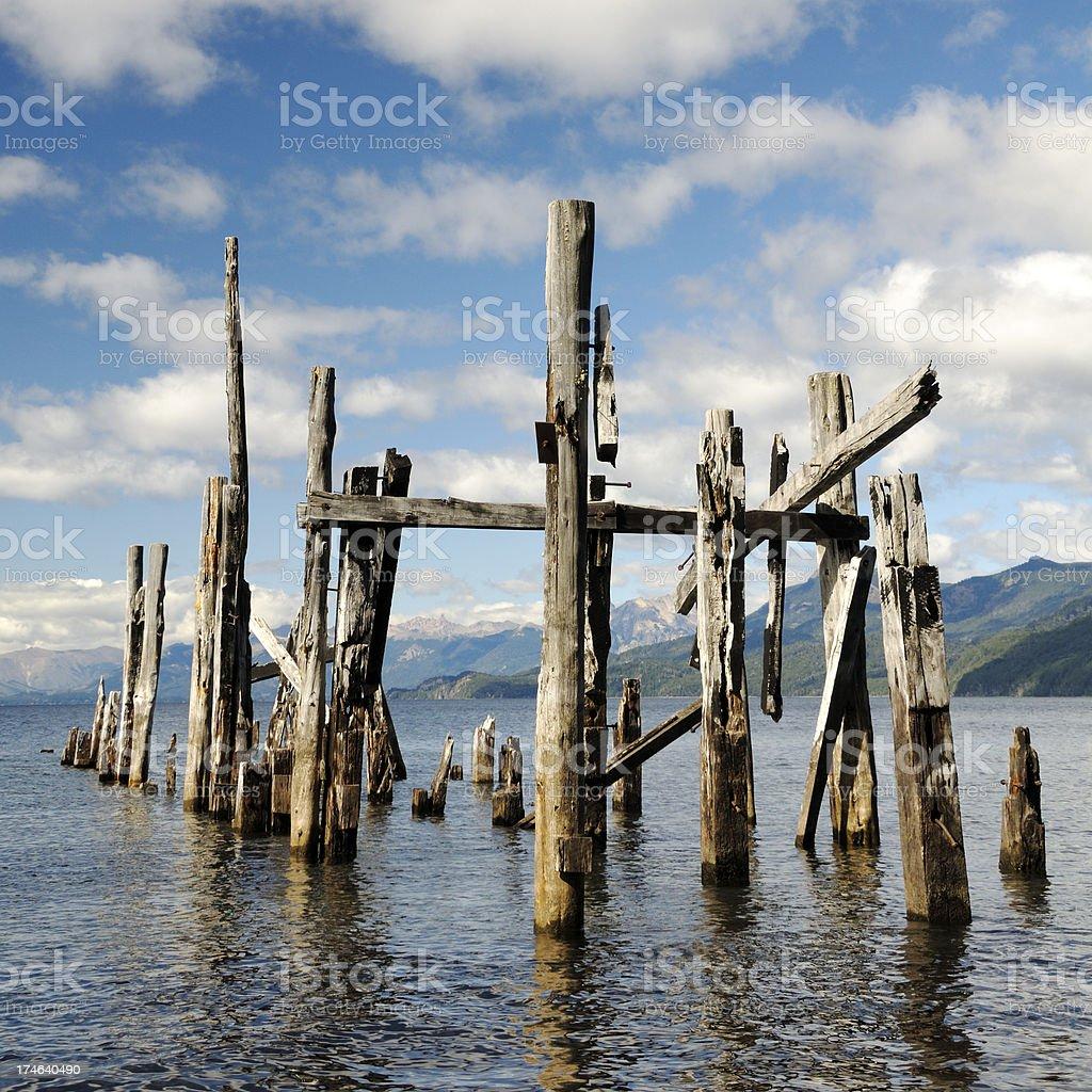 Ruined Pier, Victoria Island, Bariloche, Patagonia, Argentina stock photo