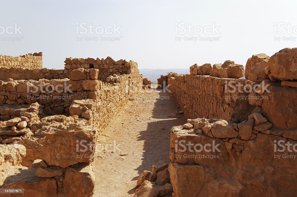 ruined street of Masada stock photo