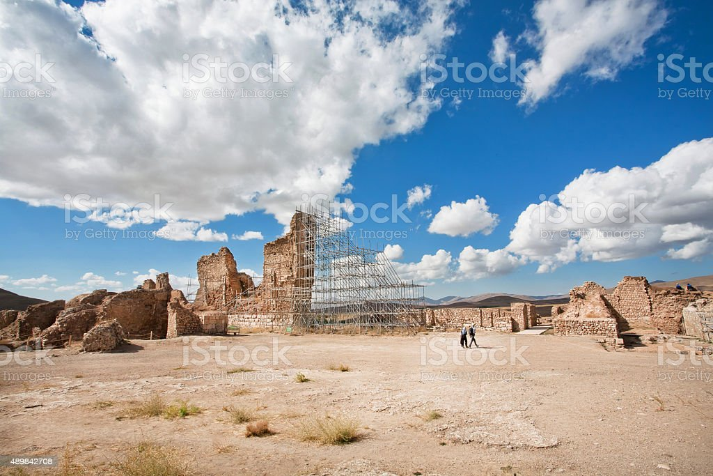 Ruined temple in the mountains stock photo
