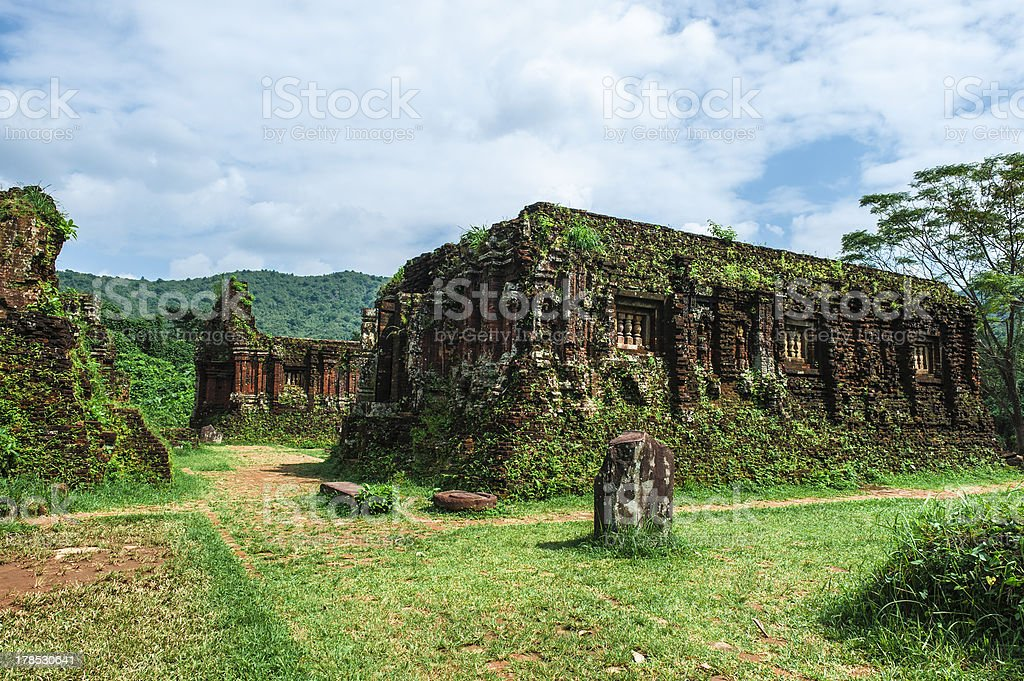 Ruined temple of the ancient Champa royalty-free stock photo