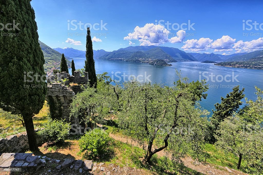Ruined tower on the hills of Como lake stock photo