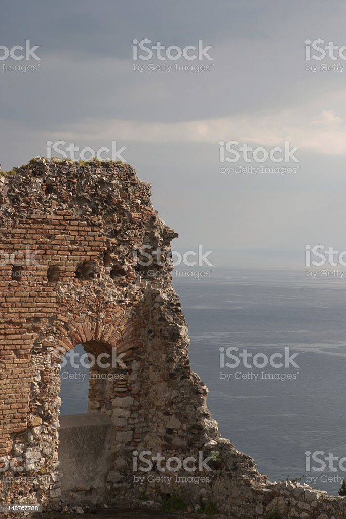 Ruined Wall at Teatro Greco in Taormina, Scicily stock photo