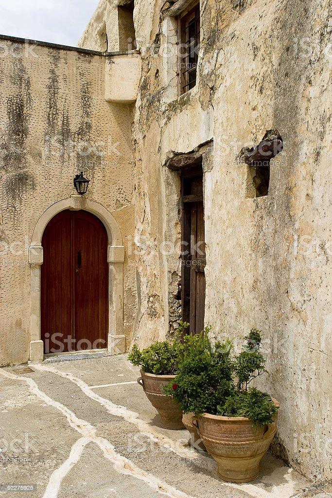 Ruined walls at Moni Prevelli monastary stock photo