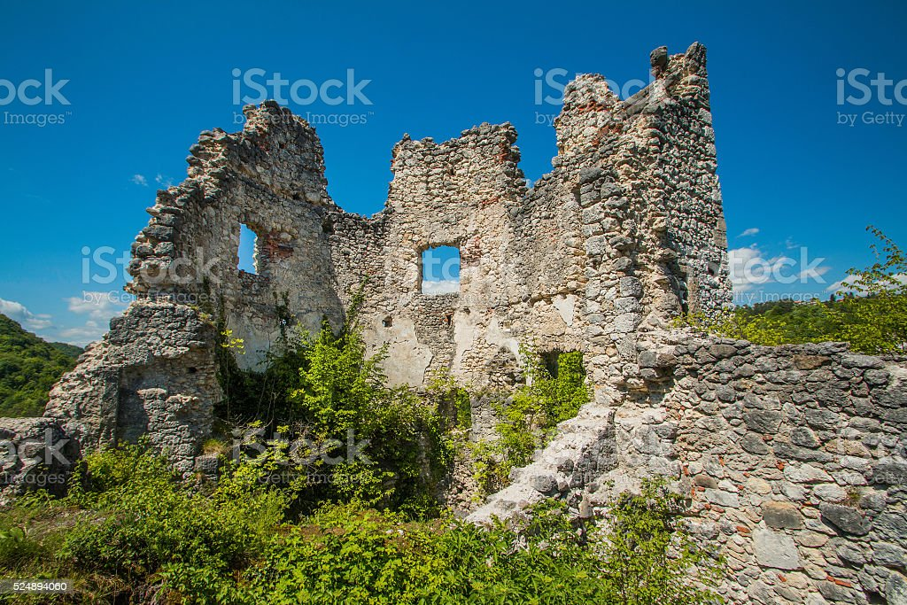 Ruined walls of the old abandoned medieval fortress Samobor, Croatia stock photo