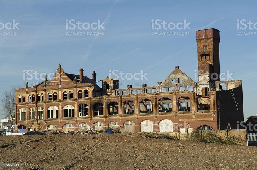 Ruined warehouse awaiting demolition - Birmingham UK royalty-free stock photo