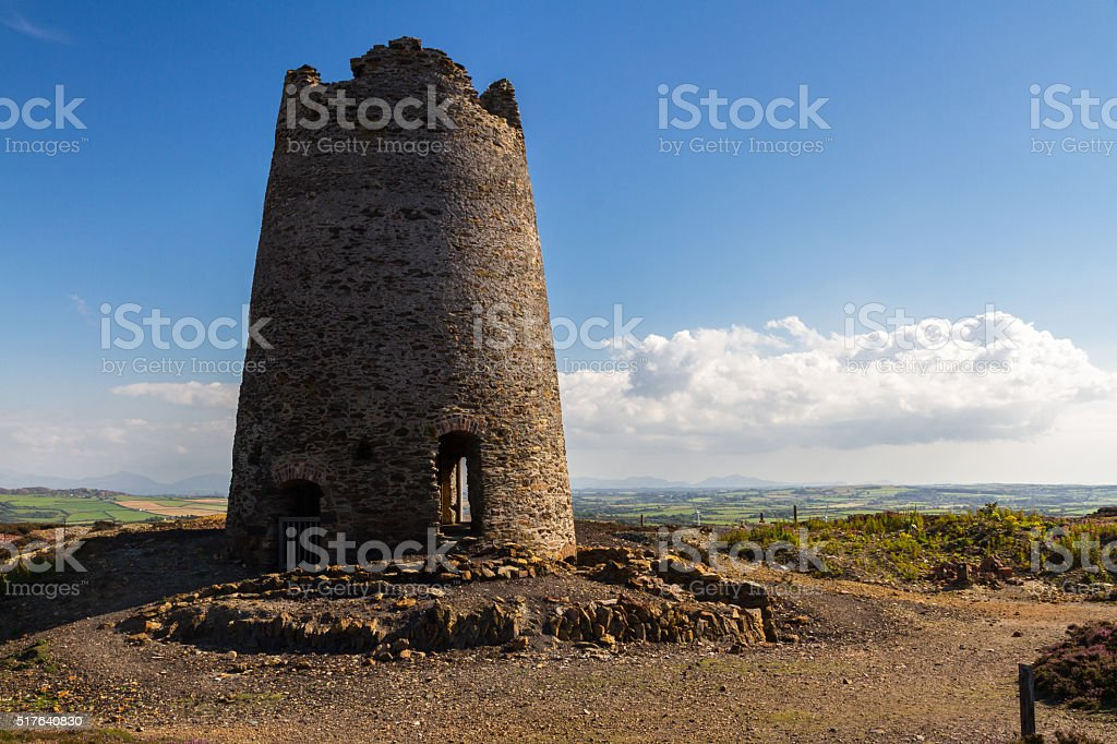 Ruined windmill on Parys Mountain stock photo