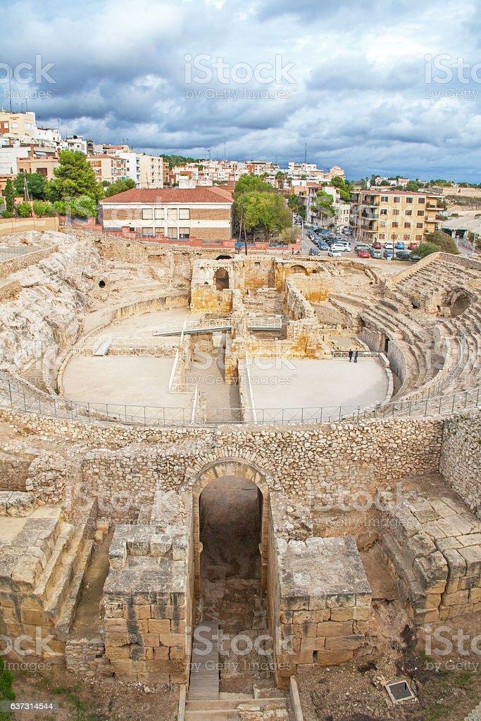 Ruines de l'amphithéâtre romain, Tarragone, Espagne stock photo