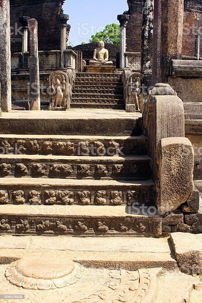 Ruines of Beautiful hinduist temple stock photo