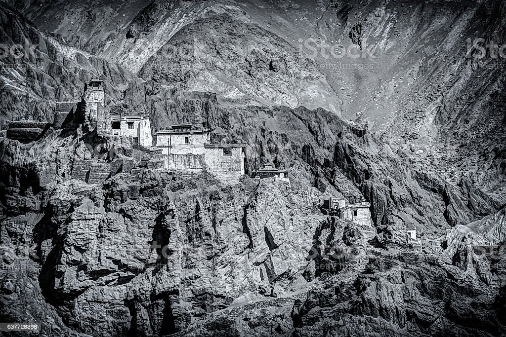 Ruins and Basgo Monastery, Leh, Ladakh, Jammu and Kashmir, India stock photo
