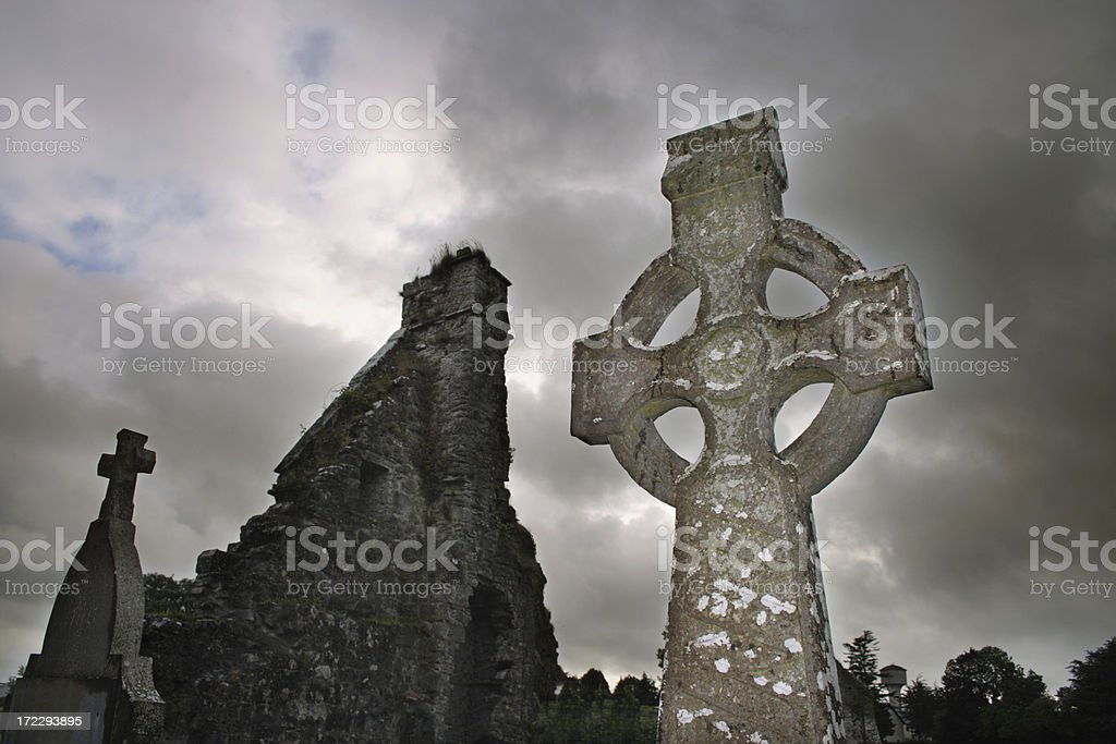 Ruins and crosses royalty-free stock photo