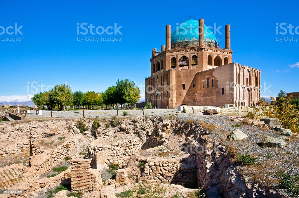 Ruins and stone citadel Dome of Soltaniyeh, Iran. stock photo