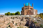 Ruins and stone citadel Dome of Soltaniyeh, Iran.