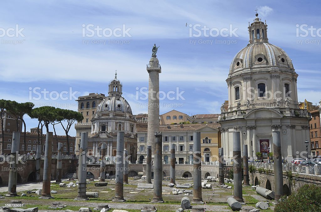Ruins around Trajan Market. Rome. royalty-free stock photo