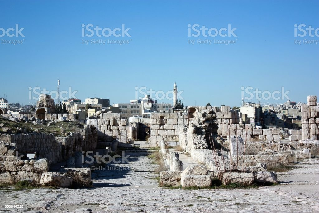 Ruins at Citadel Hill in Amman, Jordan Middle East stock photo
