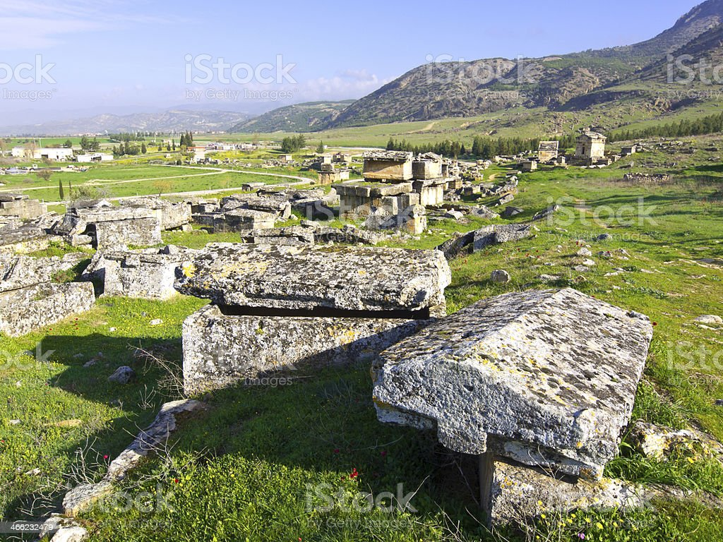 Ruins at Hierapolis over grassy field with mountains behind. stock photo