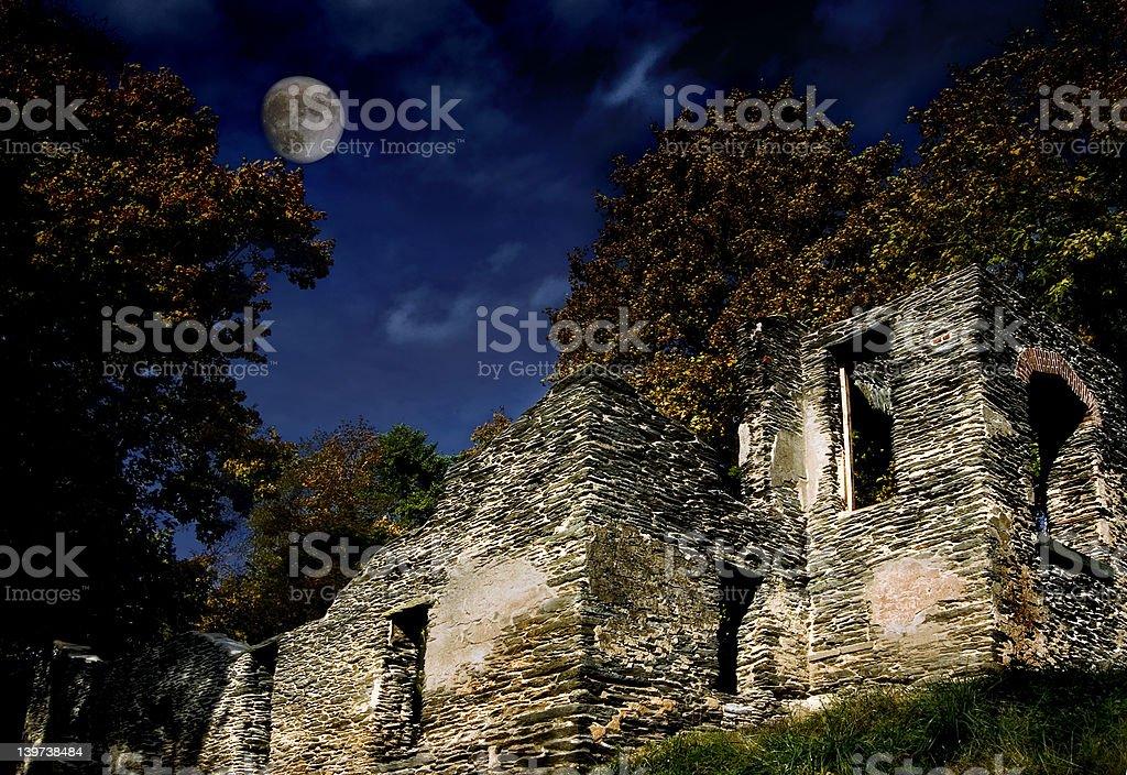 Ruins at night stock photo