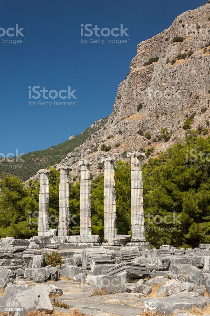 Ruins at Priene, Turkey stock photo