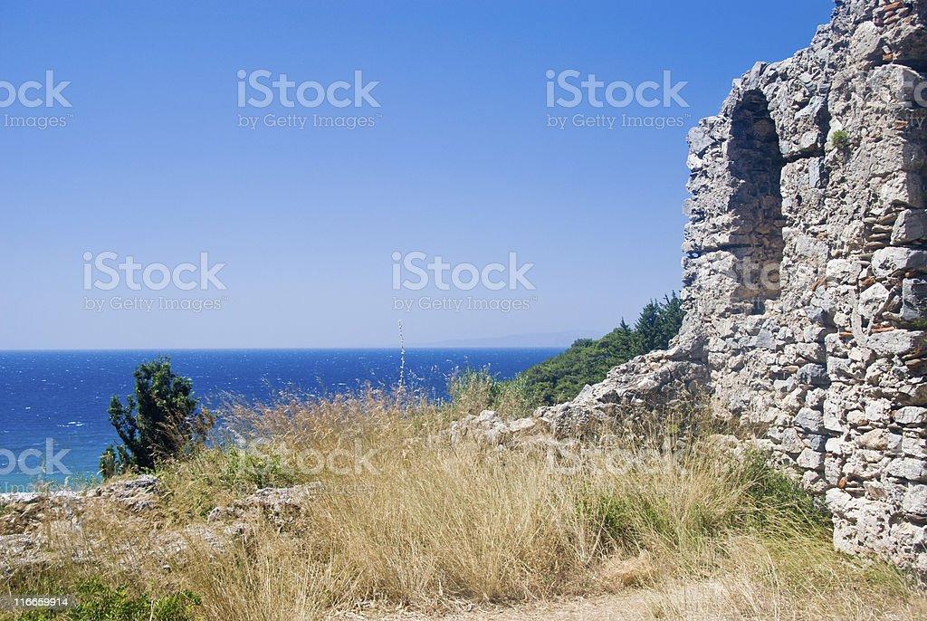 Ruins at seaside royalty-free stock photo