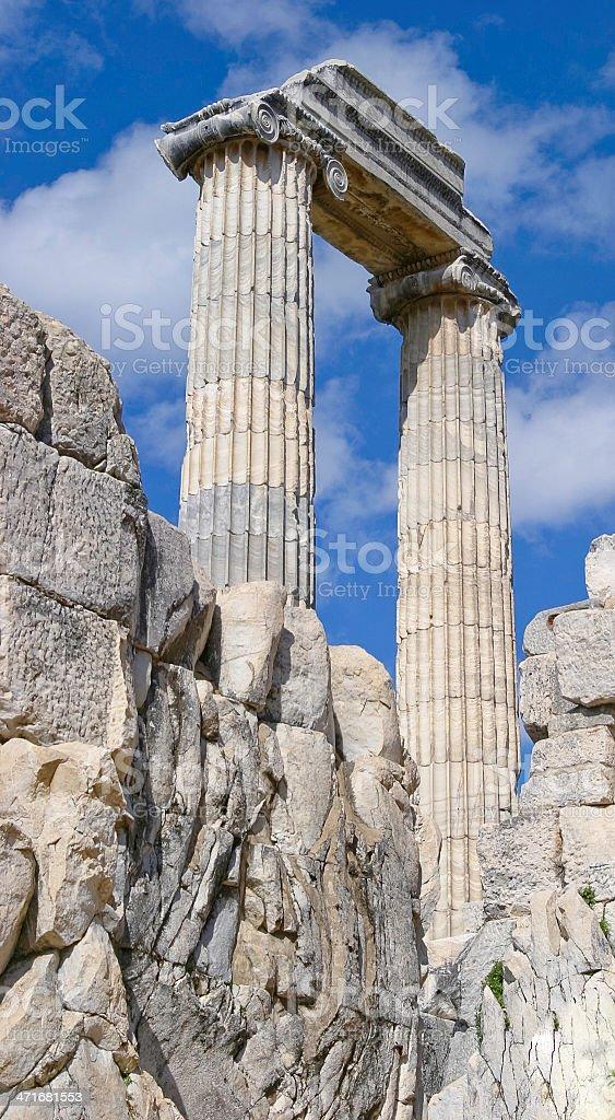 Ruins at the Apollo Temple, Didyma -Turkey royalty-free stock photo