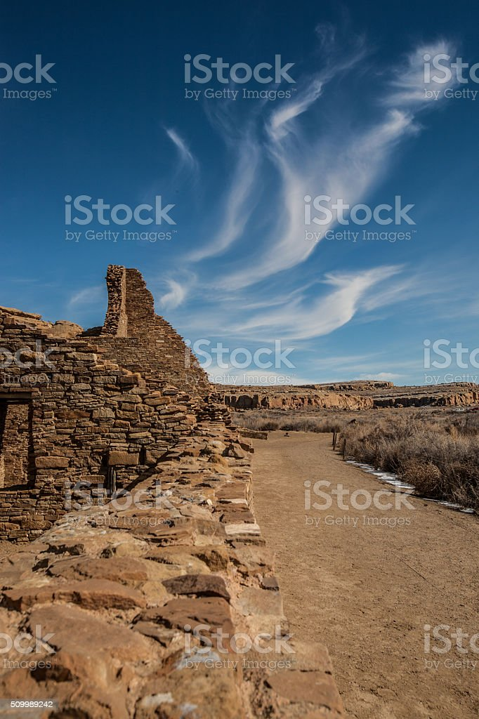 Ruins at the Chaco Culture National Historical Park stock photo