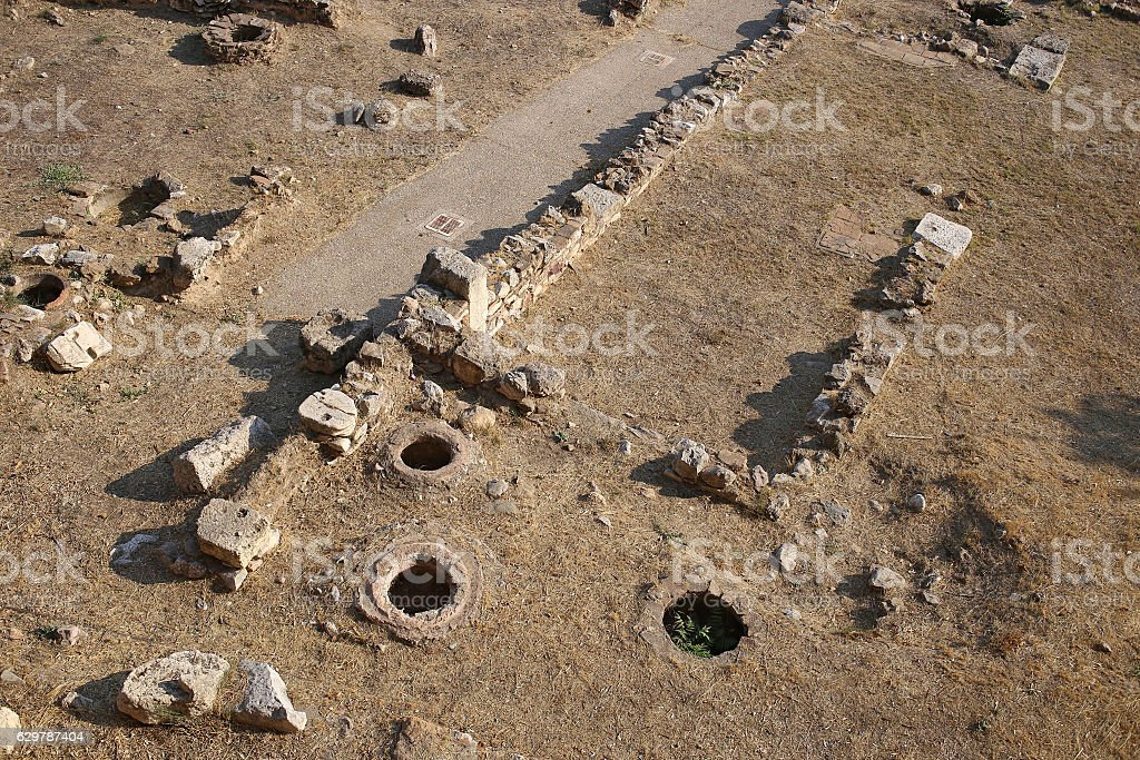 Ruins at the site of Zeus Temple, Athens, Greece stock photo