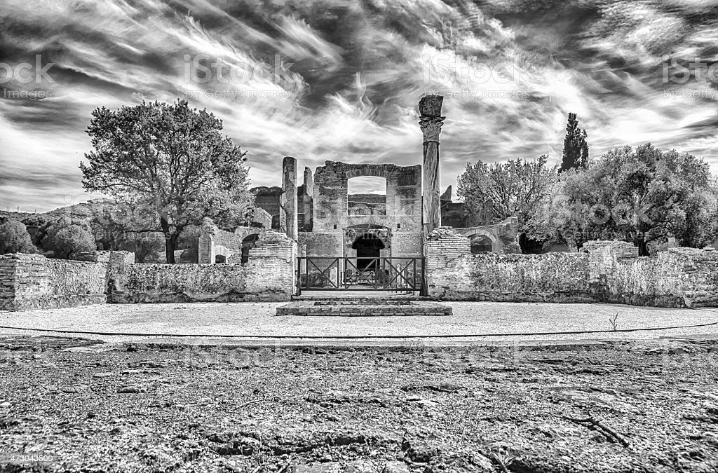 Ruins at VIlla Adriana (Hadrian's Villa), Tivoli, Italy stock photo