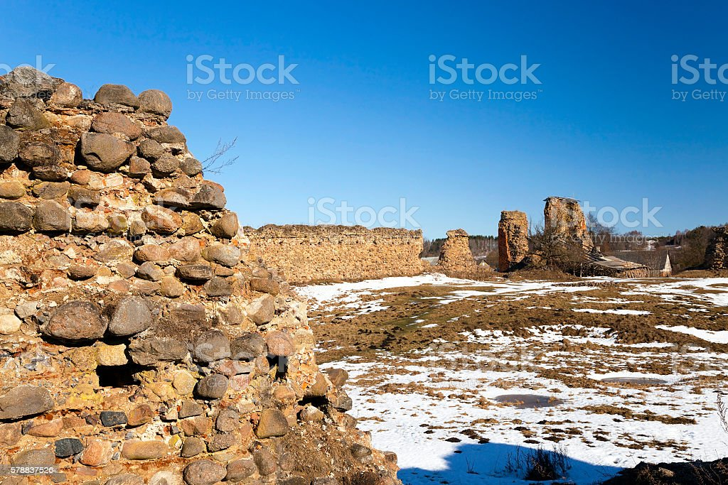 ruins, Belarus in Winter stock photo