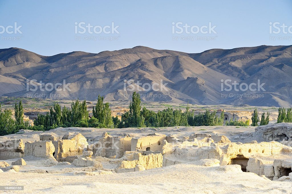 Ruins, desert, trees and mountains stock photo