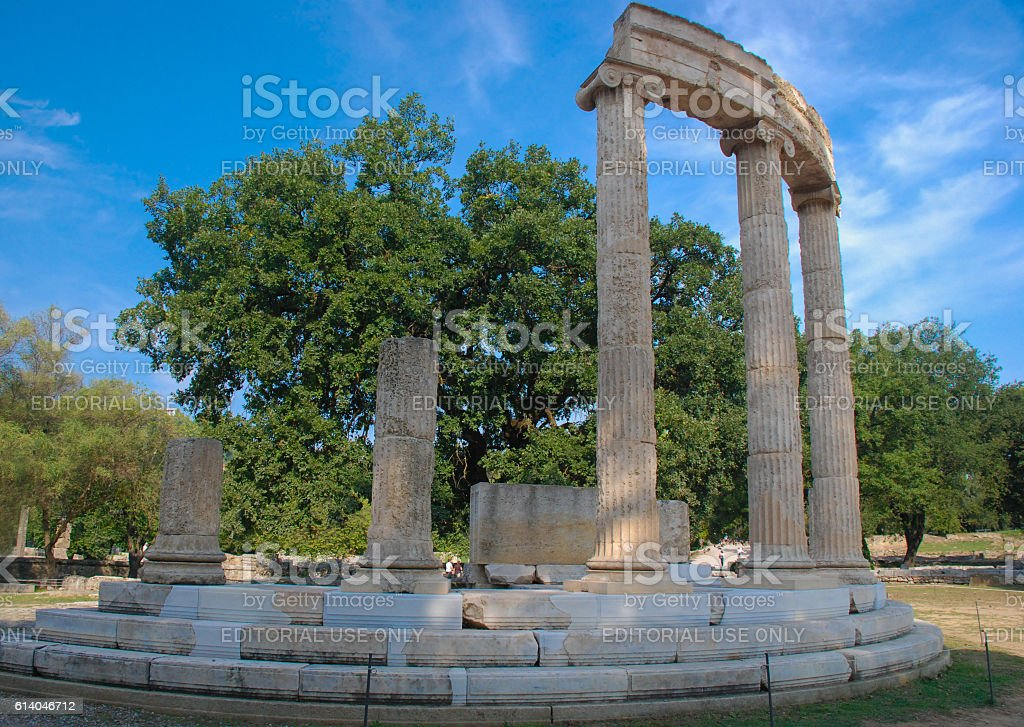 Ruins Filippeyon in Ancient Olympia, Greece stock photo