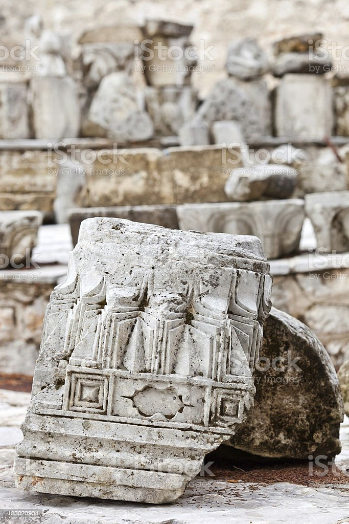 Ruins From A Destroyed Mosque In Pocitelj, Bosnia and Hercegovina stock photo