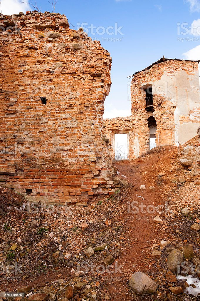 ruins Golshany Belarus stock photo